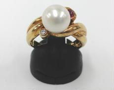 K18ダイヤ・白石・ピンク石付リング|宝石付きリング