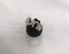 K18WGリング 蹄鉄形|宝石付きリング
