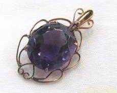 K18ペンダントトップ紫石付き 宝石付きペンダントトップ