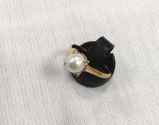 K18リング(白石付き) 宝石付きリング