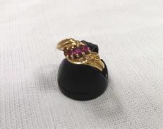 K18リング(ピンク石付き) 宝石付きリング