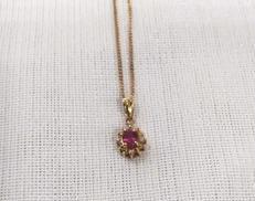 K18ネックレス(トップ赤石付き) 宝石付きネックレス