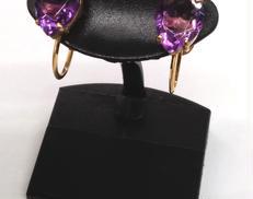 K18 イヤリング 紫石付き|K18