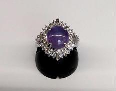 紫石付きリング|PT900