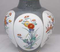 染錦梅菊牡丹 花瓶 香蘭社