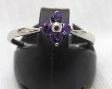 PT900リング紫花形石付 石込1.4G 宝石付きリング