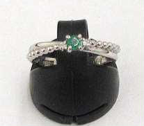 PT900 緑石付きリング|宝石付きリング