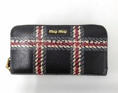 チェック柄ラウンドジップ財布|MIUMIU