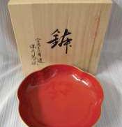 未使用 紅寿 梅型6号鉢|深川製磁