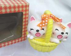 猫カゴ貯金箱|-