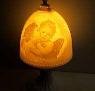 インテリアライト 照明 陶器 天使の絵 -