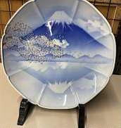 一天富士八方割飾皿 皿立て付 深川製磁
