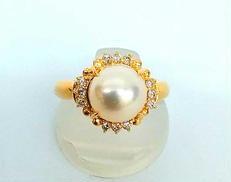 K18パールリング|宝石付きリング