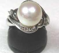 PT900パールリング|宝石付きリング