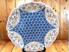 麻の葉地紋絵皿|其泉