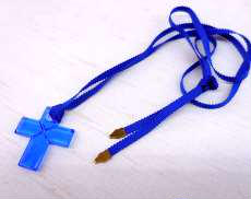 バカラ チョーカー ネックレス 十字架 ブルー|BACCARAT