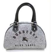 バーバリー ロゴ刺繍 ミニボストンバッグ BURBERRY BLUE LABEL